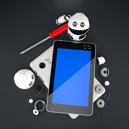 Robot repairing tablet computer